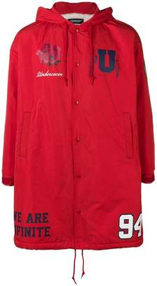 Undercover logo zipped parka coat