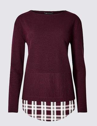Marks and Spencer Textured Satin Round Neck Long Sleeve Tops