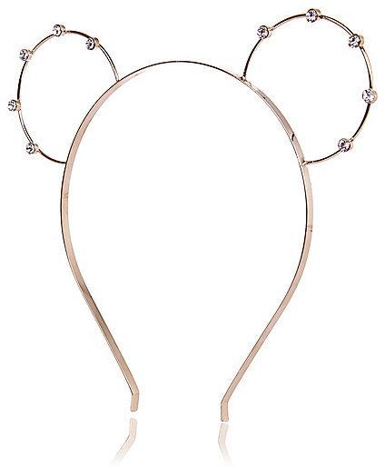 River Island Womens Gold tone rhinestone bunny ears headband