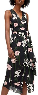 Lily Print Wrap Dress, Black/Multi