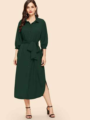 Shein Curved Hem Belted Midi Shirt Dress