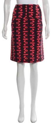 Marni Wool Printed Knee-Length Skirt coral Wool Printed Knee-Length Skirt