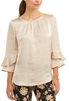 Lifestyle Attitude Women's Pleat Neck Ruffle Detail Blouse