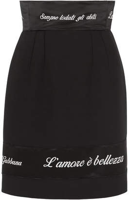 Dolce & Gabbana Embroidered Satin-trimmed Cady Pencil Skirt - Black