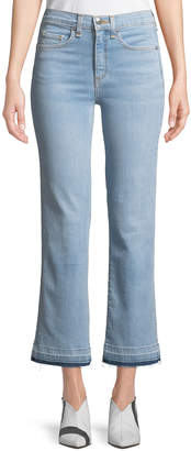 Veronica Beard Jackie Cropped Straight-Leg Jeans with Released Hem
