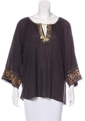 Calypso Long Sleeve Embellished Top
