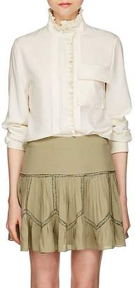 Chloé Women's Pleated-Trim Silk Blouse