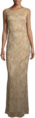 Neiman Marcus Parker Black Vicky Embellished Scoop -Back Gown