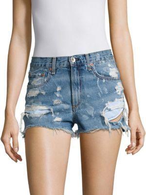 rag & bone/JEAN Brokenland Justine High-Rise Distressed Shorts $195 thestylecure.com