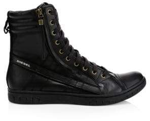 Diesel Men's Hybrid Leather Sneaker Boots - Black - Size 10.5