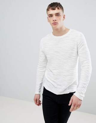 Solid Knitted Sweater in Texture with Raw Edge