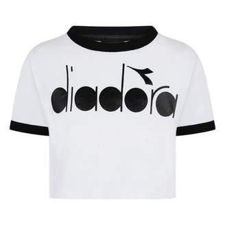 Diadora DiadoraGirls White Wide Fit Logo Top