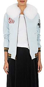 Mr & Mrs Italy Women's Fur-Collar Denim Bomber Jacket - Blue