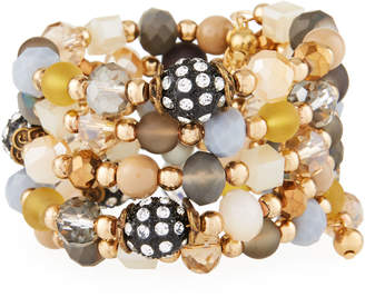 Emily and Ashley Greenbeads By Natural-Hued Crystal Wrap Bracelet