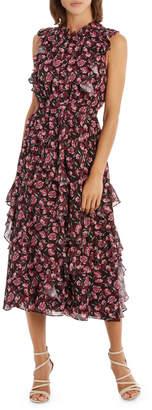 Tea Rose Dark Base High Neck Midi Ruffle Dress