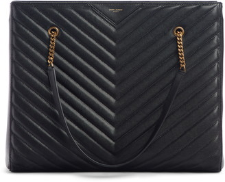 Saint Laurent Large Tribeca Quilted Calfskin Leather Tote