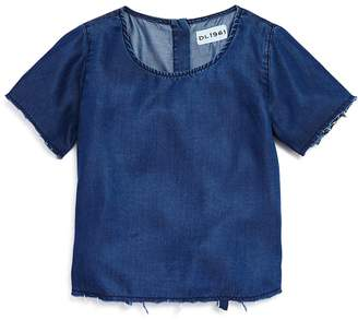 DL1961 Girls' Frayed Chambray Top
