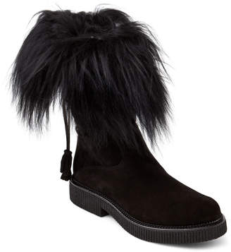 Elena Black Fur-Trimmed Lace-Back Boots