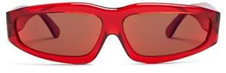 Marques'almeida - Transparent Rectangle Frame Acetate Sunglasses - Womens - Red