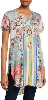 Johnny Was Kitch Mixed-Print Short-Sleeve Tunic