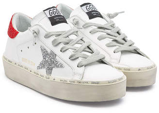 625b41cbee01 Golden Goose Limited Edition Hi Star Leather Platform Sneakers with  Swarovski Crystals