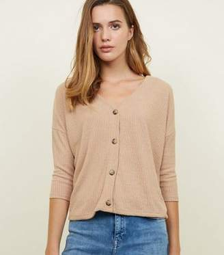 New Look Camel Ribbed Button Front 3/4 Sleeve Top