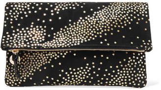 Clare Vivier Star-print Suede Clutch - Black