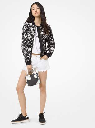 MICHAEL Michael Kors Floral Embroidered Mesh Bomber Jacket