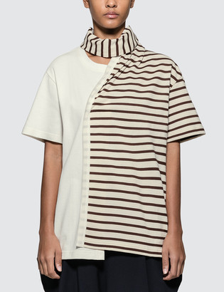 J.W.Anderson Striped Jersey Tee With Draped Scarf