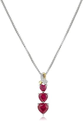 Sterling Silver and 14k Yellow Gold Diamond and Heart-Shaped Created Ruby Pendant Necklace (0.007 cttw)