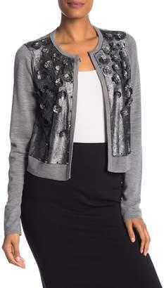 Elie Tahari Alena Wool Leather Panel Sweater