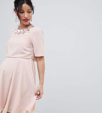 Asos DESIGN Maternity 3D crop top mini dress