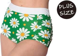 Banned Crazy Daisy Built up Vintage Retro Plus Size Swim Bottoms - /UK-18