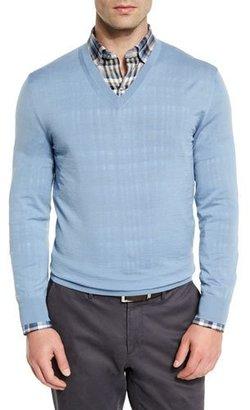 Ermenegildo Zegna High-Performance Wool V-Neck Sweater, Light Blue $595 thestylecure.com