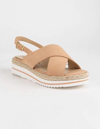 Soda Sunglasses Ankle Crisscross Sand Womens Espadrille Flatform Sandals