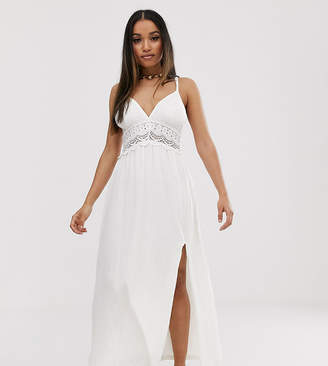 Asos DESIGN Petite textured maxi skater sundress with crochet insert