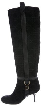 Christian Dior Quilted Suede Knee-High Boots
