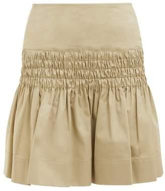 Etoile Isabel Marant Oliko Smocked Cotton Poplin Skirt - Womens - Beige