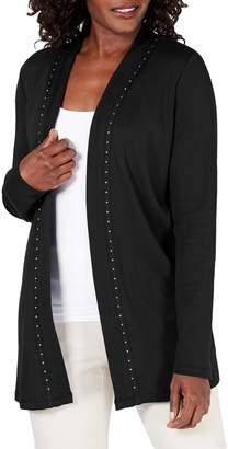 Karen Scott Petite Studded Cotton Cardigan