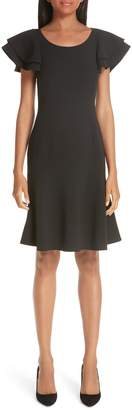 Michael Kors Layered Flutter Sleeve Stretch Wool Crepe Dress