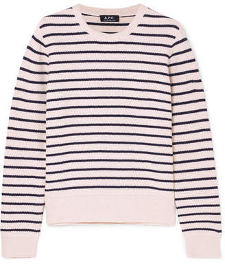 A.P.C. Erika Striped Honeycomb-knit Cotton Sweater