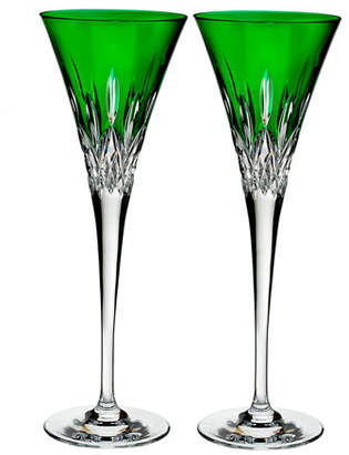 Waterford Crystal Lismore Pops Emerald Toasting Flutes, Set of 2