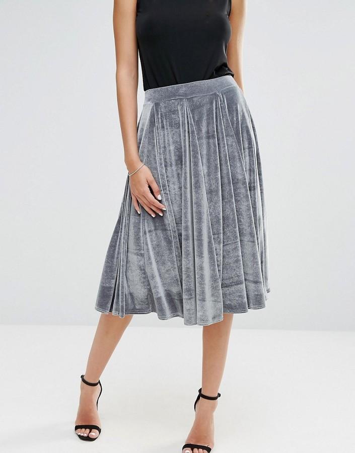 boohoo velvet midi skirt shopstyle co uk