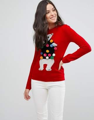Brave Soul Novelty Polar Bear Sweater With Pom Poms