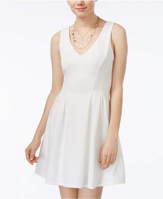 Teeze Me Juniors' Sleeveless V-Neck Fit & Flare Dress