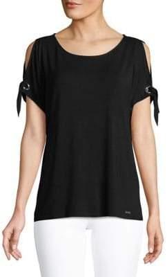 Calvin Klein Cold-Shoulder Tie-Sleeves Tee