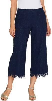 Isaac Mizrahi Live! Regular Lace Culotte Pants with Scallop Hem