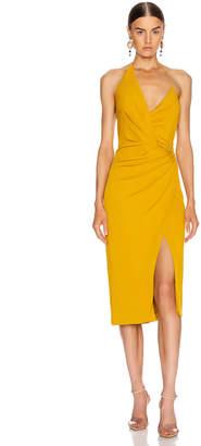 Cushnie Halter Neck Low Back Pencil Dress in Antique Gold | FWRD