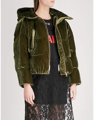 Mo&Co. Short velvet-down puffer coat