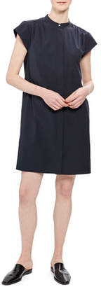 Theory Short-Sleeve Shirred Yoke Core Shirting Dress